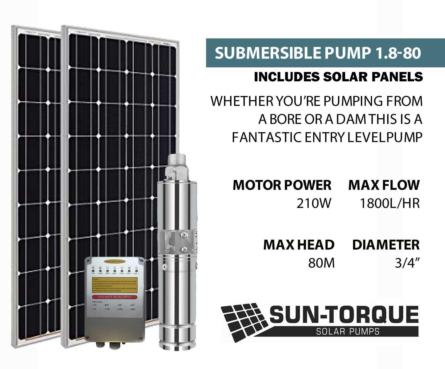 Sun-Torque Submersible 1.8-80 Solar Pump 3 | 1800l/Hr | 80M Head w/ 1 x 275w Solar Panel