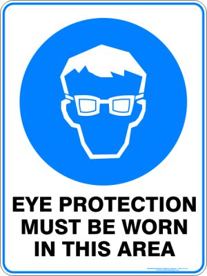 Eye protection must be worn in this area - Safety Sign