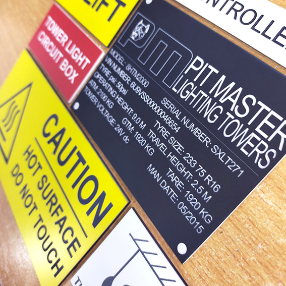 Custom Laser Engraved Traffolyte Signs and Labels