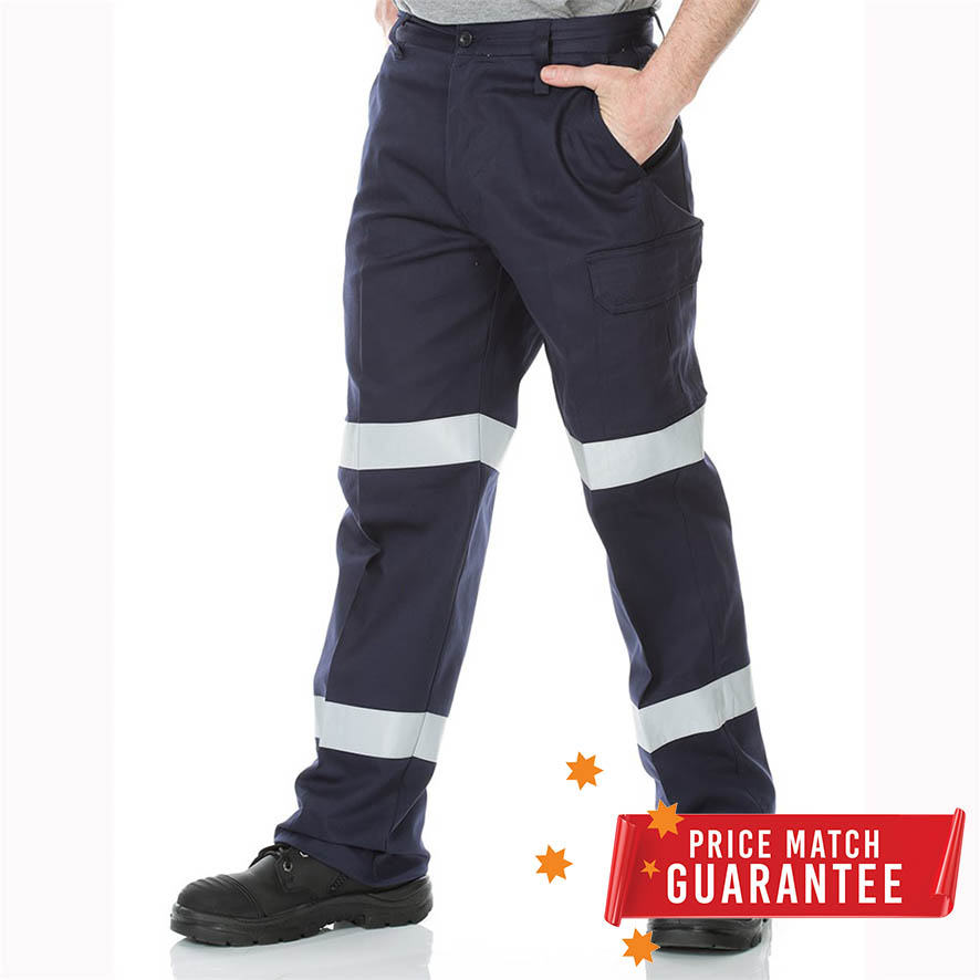 Workmens Lightweight Cotton Drill Taped Pants w/ Cargo Pocket