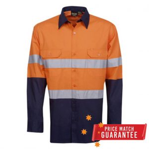 Workmen Hi-Vis Two Tone Long Sleeve Drill Shirt with 3M Reflective Tape - Multiple Colour Options